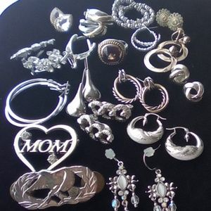 Amazing Vintage-Mod. Silver Toned Jewelry Lot 18pc